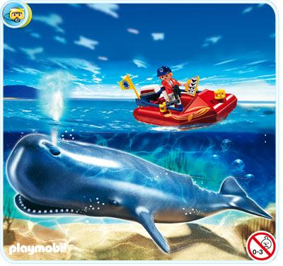 Playmobil Zoo Researcher on Boat and Whale Set #4489 by
