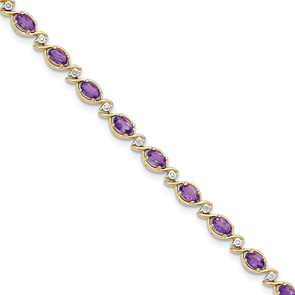 """Solid 14k Yellow Gold Simulated Amethyst Diamond Bracelet 7"""" with Secure Lobster Lock Clasp by AA Jewels"""