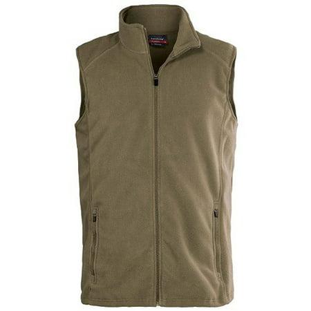 Mens Cow Pocket Vest (Landway Men's Micro Fleece Vest Two Center Seam Zippered Pockets, Style 8815)