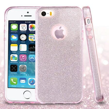 Insten Dual Layer [Shock Absorbing] Hybrid Glitter Hard Plastic/Soft TPU Rubber Case Cover For Apple iPhone 5/5S/SE, Pink (Glitter Hard Case)