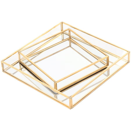 Gold Serving Trays (Koyal Wholesale Gold Glass Mirror Square Trays Vanity Set of 2, Decorative Mirrored Trays for Coffee Table, Bar)