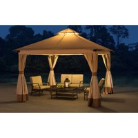 Sunjoy Rosemary SoftTop Gazebo Canopy with Mosquito Netting and Privacy Curtains for Outdoor 12' x 12', Beige