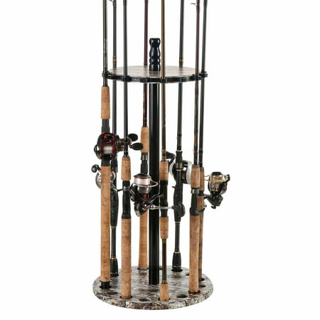 Three Rod Tournament Rack - Organized Fishing Round Floor Rack, 15 Capacity, Camo