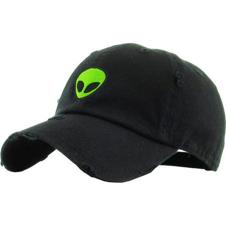 Alien Black Vintage Distressed Dad Hat Adjustable Baseball Cap NASA Galaxy Spaceship UFO Face ET E.T. Saucer](Vintage Baseball Gifts)