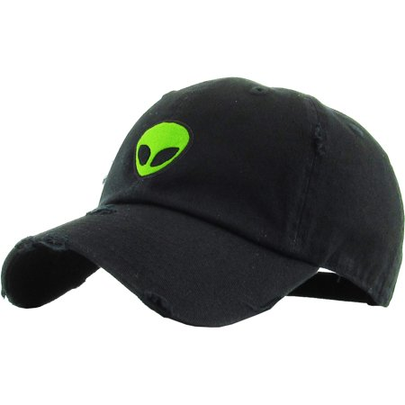 Alien Black Vintage Distressed Dad Hat Adjustable Baseball Cap NASA Galaxy Spaceship UFO Face ET E.T. Saucer