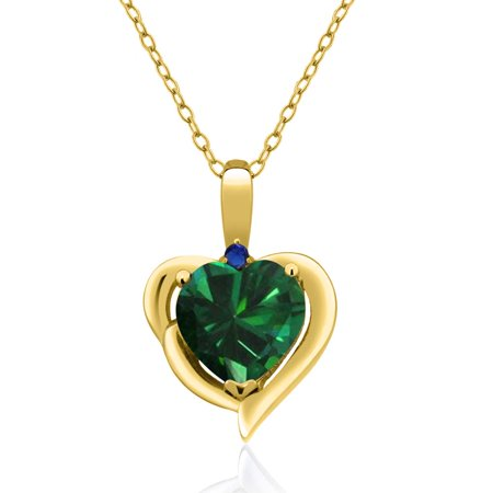1 52 Ct Green Simulated Emerald Blue Simulated Sapphire 18K Yellow Gold Pendant