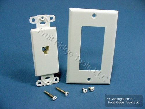 Leviton C2677 W Phone Jack, Decora 6 Wire Flush Mount Wall Plate,