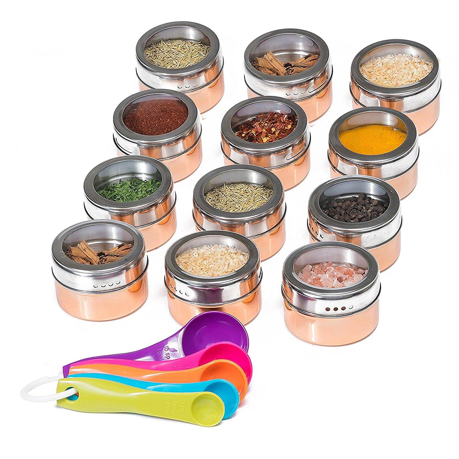 Spice Magnetic Storage Jars for Spices - 12pcs Stainless ...