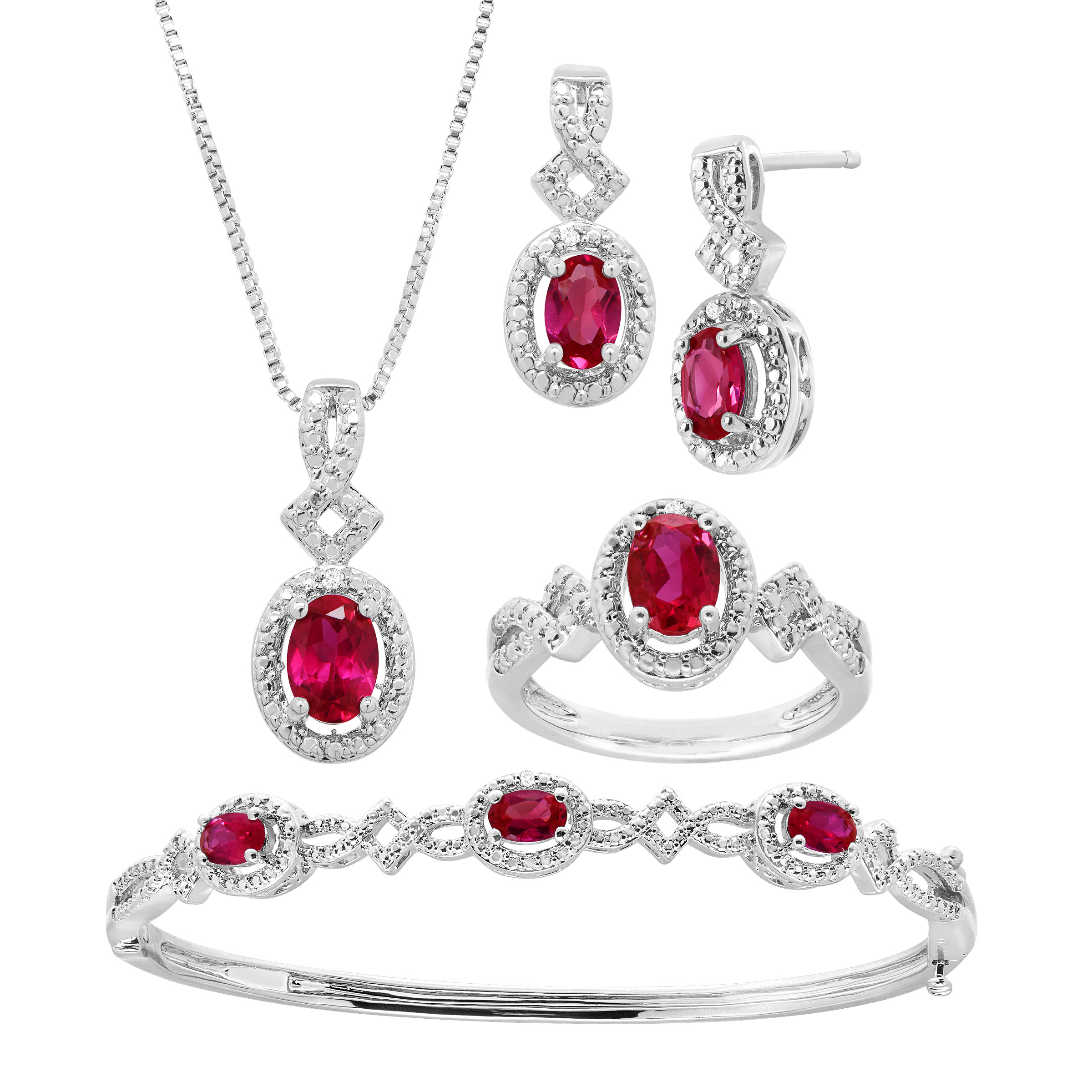 5 ct Created Ruby Pendant, Bracelet, Earring & Ring Set with Diamonds in 14kt White Gold-Plated Brass by Richline Group
