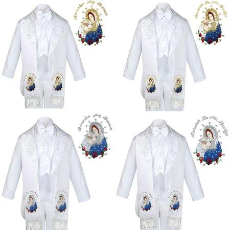 6pc Baptism White Tuxedo English Spanish Colored Silver Gold Pope Mary Stole