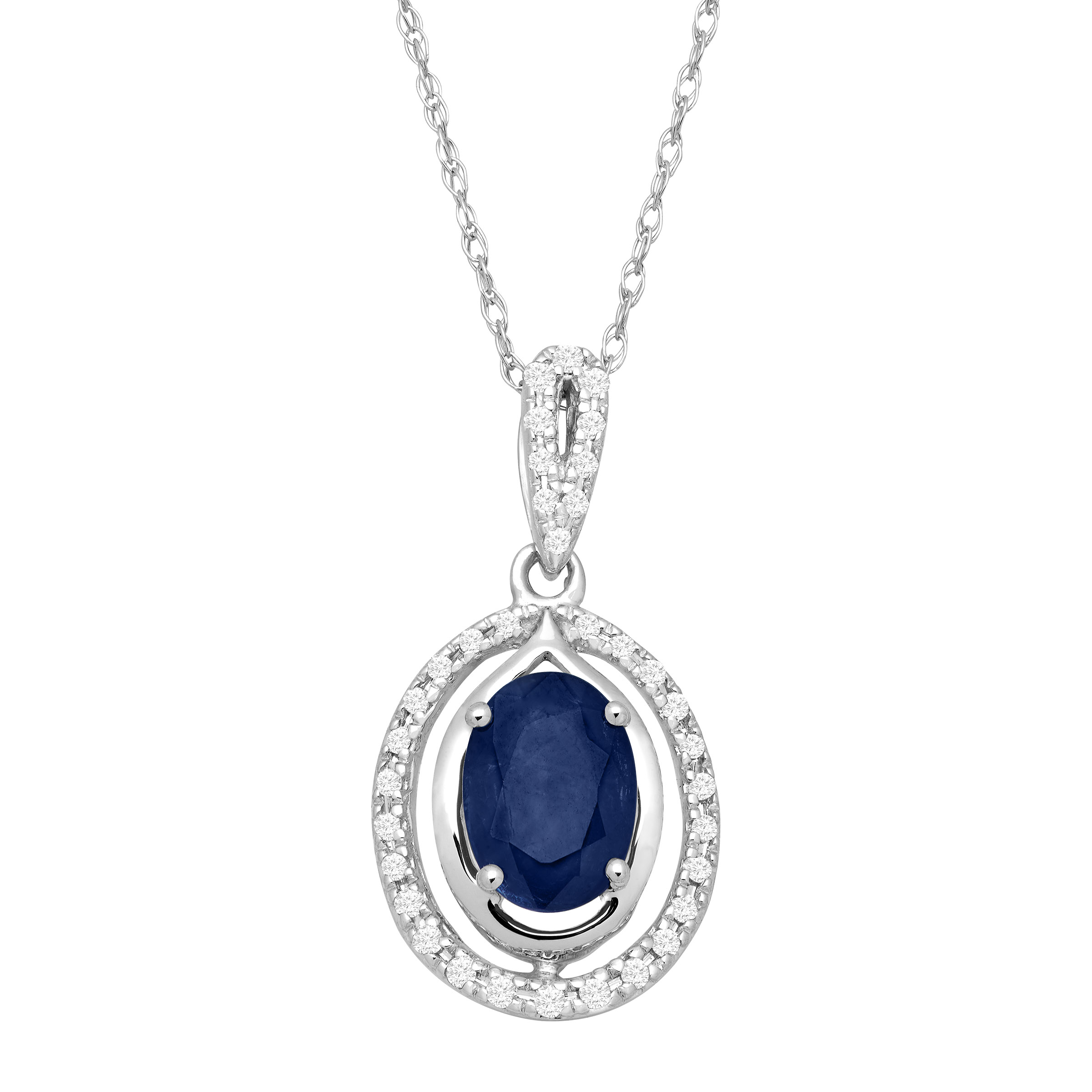 1 ct Natural Sapphire & 1 10 ct Diamond Oval Pendant Necklace in 10kt White Gold by Richline Group