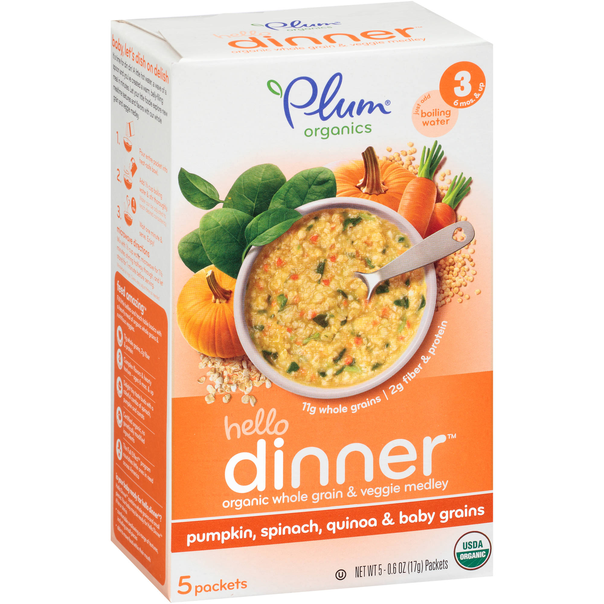 Plum Organics Hello Dinner Pumpkin, Spinach, Quinoa & Baby Grains Stage 3 Baby Food, 0.6 oz, 5 count (Pack of 6)