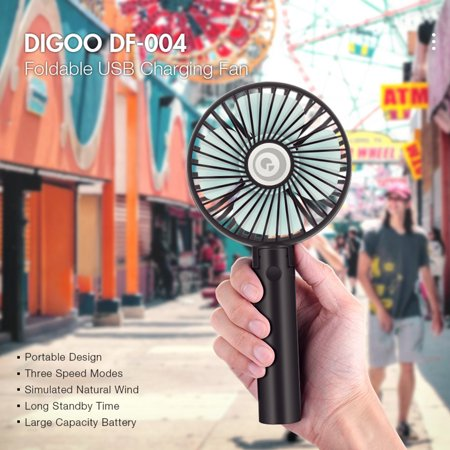 Digoo Mini Portable Handheld Fan with USB Battery Cooling Fan with Desk Stand Base 3-Speed Mode for Traveling Home Office Indoor Outdoor Camping