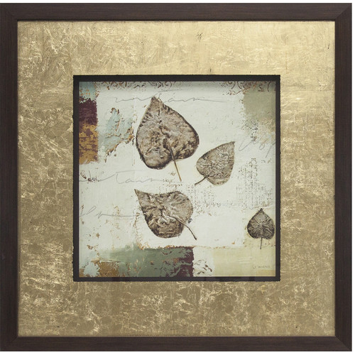 Pinnacle 18x18 Silver Leaves Framed Art