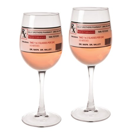 Lasting Impressions Prescription Wine Glasses - Set of 2 Wine Stems with Novelty Prescription Labels - Novelty Glasses