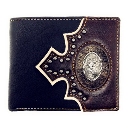 Western Genuine Leather Metal Rooster Concho Cowhide Mens Bifold Short (Hide Concho)