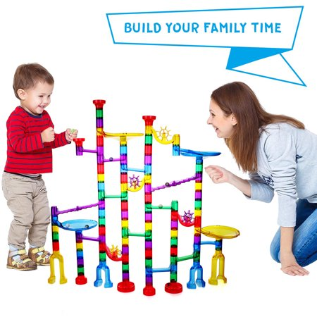 Marble Run Sets for Kids - 152 Pieces Marble Tracks Marble Maze Game STEM Building Toy Gift for 4 5 6 + Year Old Boys Girls(122 DIY Marbles + 30 Glass