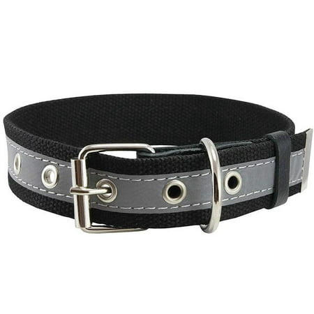 High Quality Cotton Web/Leather Reflective Dog Collar 18