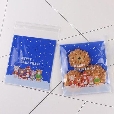 Homemade Halloween Snacks (AkoaDa 100 Pcs Self Adhesive Christmas Cookie Candy Bags for Bakery Biscuit Chocolate Snacks Dessert Homemade Crafts (Merry)