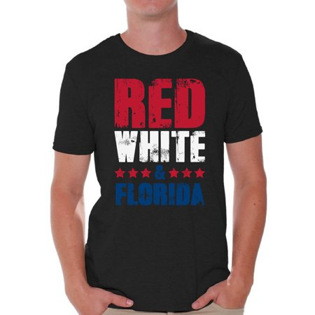 Awkward Styles Red White & Florida Shirt for Men American Men USA Flag Shirts Florida Tshirt 4th of July Shirts for Men Patriots Tshirt Gifts from Florida USA Shirts for Men America Men's (Boat T Tops For Sale In Florida)