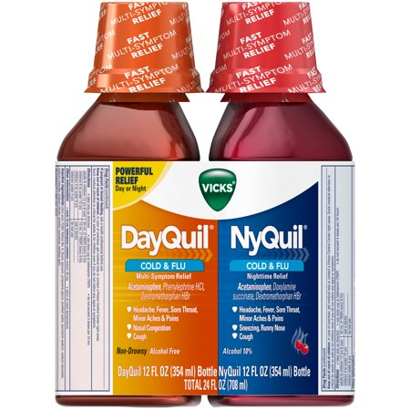 Vicks Dayquil Nyquil Cold   Flu Liquid 2 12 Fl  Oz  Bottles
