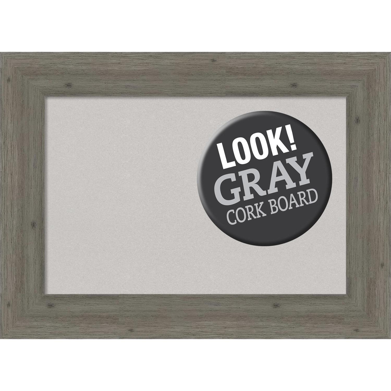 Amanti Art Framed Grey Cork Board, Fencepost Grey Narrow