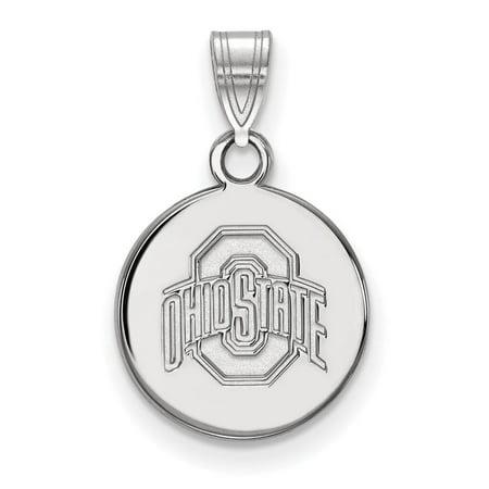 Ohio State Football Pendant - Ohio State Small (1/2 Inch) Disc Pendant (10k White Gold)
