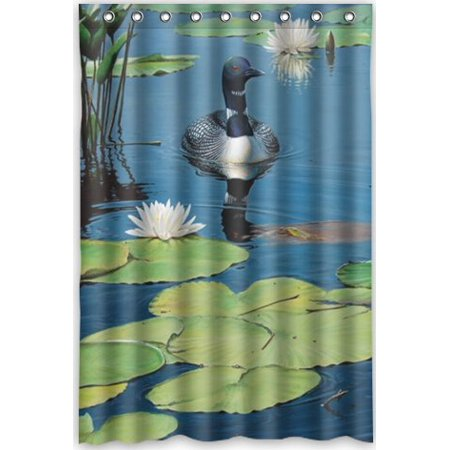 HelloDecor Loon Birds Shower Curtain Polyester Fabric Bathroom Decorative Size 48x72 Inches