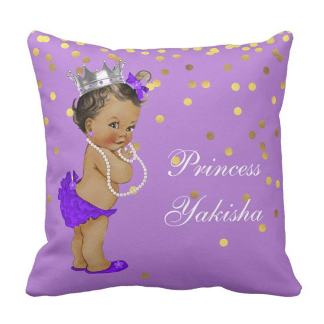 BPBOP Silver African Purple Vintage Ethnic Princess Baby Gold Cute Crowns Pillowcase Cushion Cover 16x16 inches