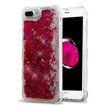 Insten Quicksand Glitter Hard Plastic/Soft TPU Rubber Case Cover For Apple iPhone 6s/6s Plus/7 Plus/8 Plus, Hot Pink