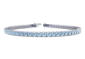 7.5 Inch 2 3 4 Carat Aquamarine Tennis Bracelet In 10K White Gold by