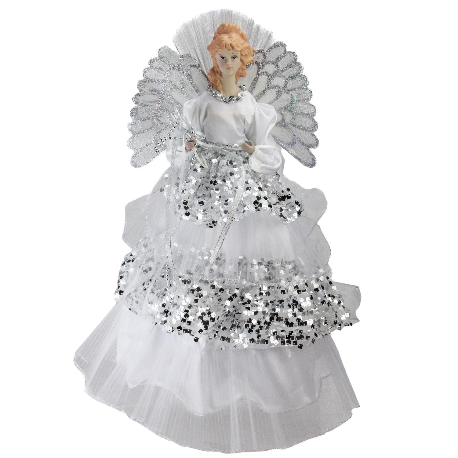"16"" Lighted Fiber Optic Angel in Silver Sequined Gown ..."