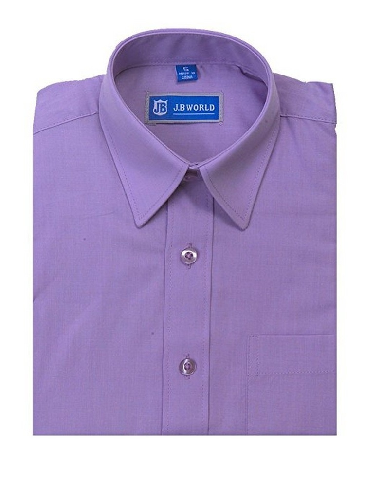 JB World Boys Lavender Short Sleeve Button Front Uniform Dress Shirt