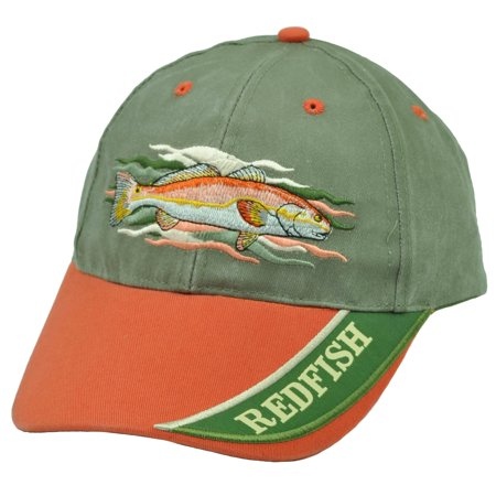 Redfish fishing outdoor camping fish green orange velcro for Fishing hats walmart