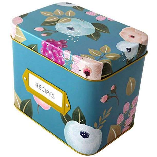 Recipe Box With 24 Cards And 12 Dividers By Polite Society Blue Tin Walmart Com Walmart Com