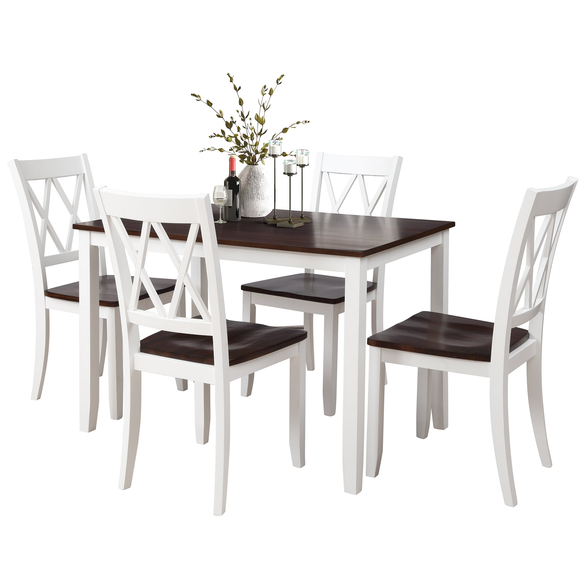 Kitchen Table Sets With Chairs For 4, 5 Piece Dining Table Sets With Bar Stools, Heavy Duty Wooden Rectangular Dining Room Table Set With White Finish For Home, Kitchen, Living Room, Restaurant,