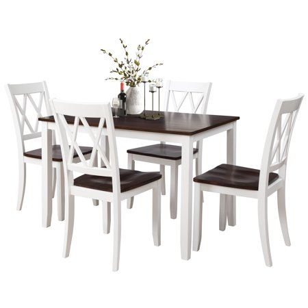 Dining Room Table Set, 5 Piece Dining Table Sets with Dining Chairs for 4, Heavy Duty Wooden Rectangular Kitchen Table Set with White Finish for Home, Kitchen, Living Room, Restaurant,