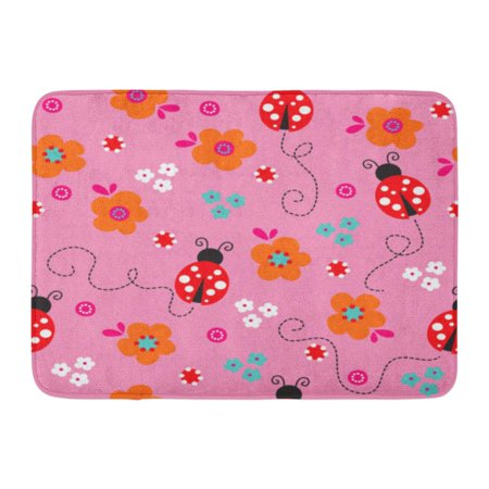 GODPOK Adorable Colorful Ladybug Lady Bug with Flower Pattern Floral Animal Rug Doormat Bath Mat 23.6x15.7 inch