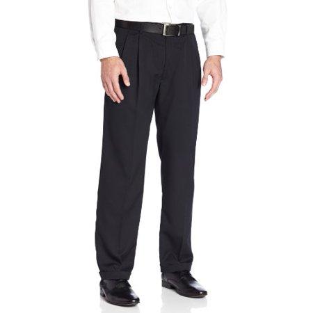 Stone Dress Clip - Haggar Men's Two Tone Herringbone Expandable Waist Pleat Front Dress Pant,Black,34W x 30L