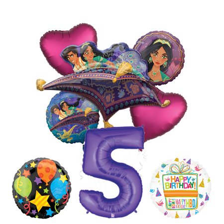 Mayflower Products Aladdin 5th Birthday Party Supplies Princess Jasmine Balloon Bouquet Decorations - Purple Number - Jasmine Birthday Party Supplies