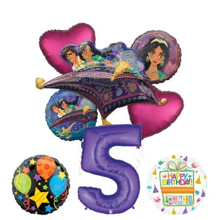 Mayflower Products Aladdin 5th Birthday Party Supplies Princess Jasmine Balloon Bouquet Decorations - Purple Number 5](Aladdin Party Supplies)