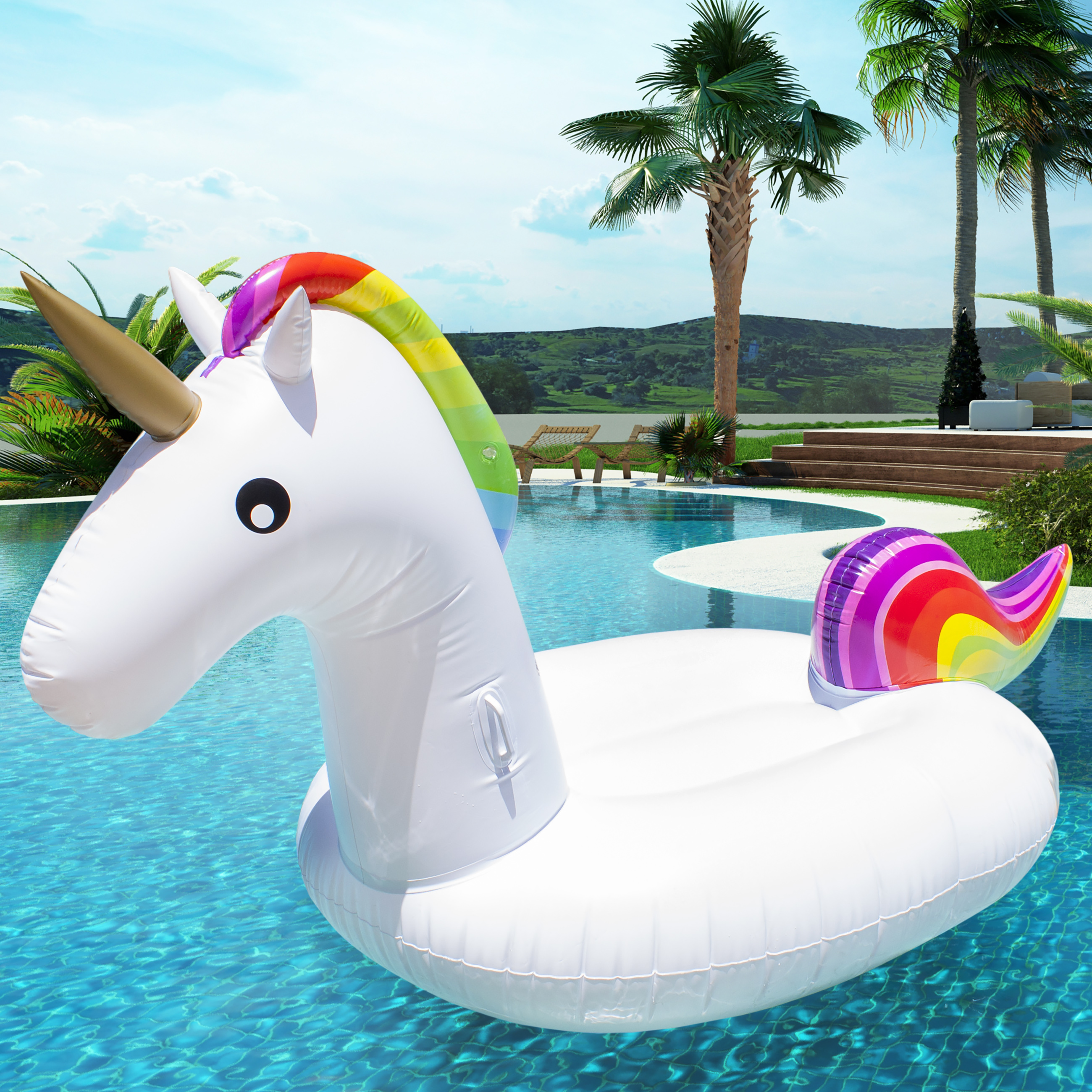 Giant Rainbow Inflatable Unicorn Pool Float Toy Outdoor Fun Water Swim  Floater   Walmart.com