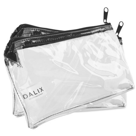 DALIX 2 PACK Zipper Makeup Bag Pencil Pouch Travel Accessories Holder Clear (Clear Pouch)