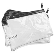 DALIX 2 PACK Zipper Makeup Bag Pencil Pouch Travel Accessories Holder Clear Transparent