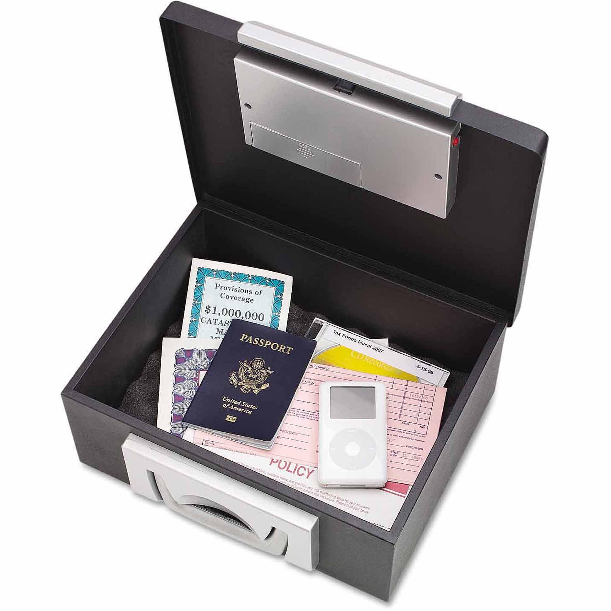 "SteelMaster Electronic Cash Box, 12-7/8"" x 11-1/8"" x 6.25"", Combination Lock, Black"