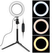 """TSV Ring Light Kit, 6.3"""" Outer 3-Light Color, 5500K Dimmable, Includes LED Ring Light, Light Stand, and Carrying Bag for Camera, Smartphone, YouTube, and Self-Portrait Shooting"""