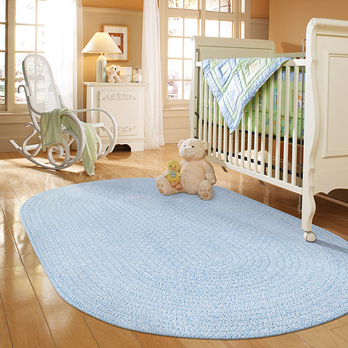 Spring Garden Braided Rug Light Blue Multi