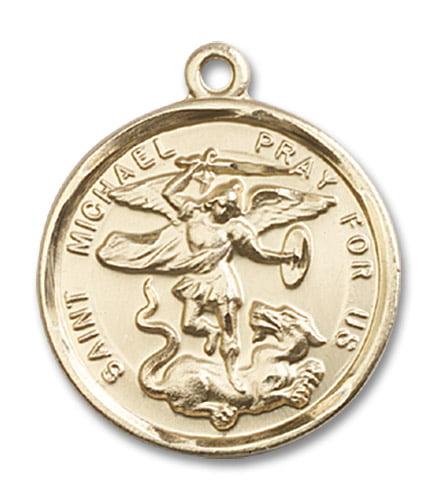 St. Michael The Archangel Medal Pendant in 14 KT Gold Fil...