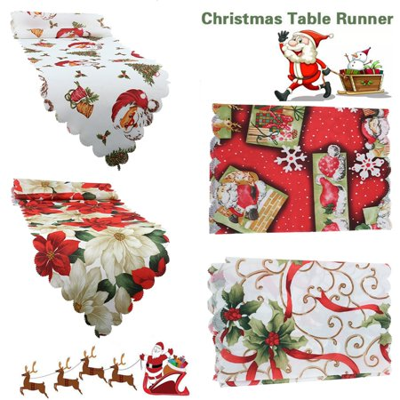 14 x 71 inch Christmas Table Runners Vintage Style Floral Santa Claus Snowman Snowflakes Xmas Tablecloths Table Cover Party Dinner Kitchen Dining Room Desk Home Decor ()