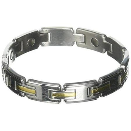 Mens Stainless/Gold Magnetic Link Bracelet-S/M